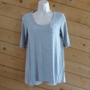Beiley 44 Gray Scoop Neck Short Sleeve Shirt Top M